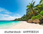 tropical beach with palm and... | Shutterstock . vector #649958314