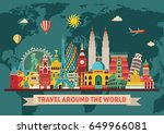 travel and tourism background.... | Shutterstock .eps vector #649966081