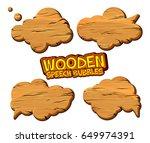 set of wooden speech bubbles...
