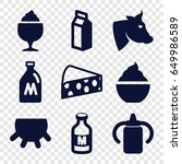 milk icons set. set of 9 milk... | Shutterstock .eps vector #649986589