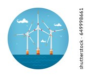 round icon wind turbines at the ... | Shutterstock .eps vector #649998661