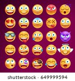 set of cute emoticons on black... | Shutterstock .eps vector #649999594