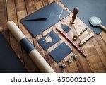photo of blank black stationery ... | Shutterstock . vector #650002105