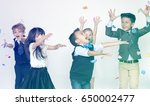 group of kids celebrating in a... | Shutterstock . vector #650002477