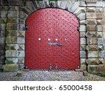 Old Red Gate In The Wall Of Th...