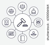 legal icons set. set of 9 legal ... | Shutterstock .eps vector #650006464