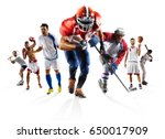 sport collage boxing soccer... | Shutterstock . vector #650017909