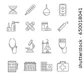 collection of medicine line... | Shutterstock .eps vector #650018041