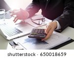 businessman hand working with... | Shutterstock . vector #650018659