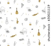 hand drawn doodle musical... | Shutterstock .eps vector #650021119