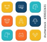 set of 9 animal outline icons... | Shutterstock .eps vector #650022631