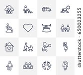 set of 16 people outline icons... | Shutterstock .eps vector #650023255