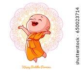 little happy monk in the orange ...   Shutterstock .eps vector #650023714