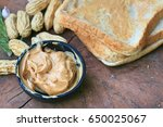 peanut butter and bread | Shutterstock . vector #650025067