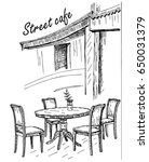 street cafe in old town vector... | Shutterstock .eps vector #650031379