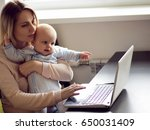 young mother in home office... | Shutterstock . vector #650031409