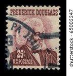 Small photo of USA-CIRCA 1965: A stamp shows image portrait Frederick Douglass (born Frederick Augustus Washington Bailey) was an American social reformer, orator, writer and statesman, circa 1965.