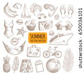 summer vacation sketches set.... | Shutterstock .eps vector #650036101