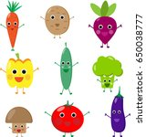 different cute vegetables funny ... | Shutterstock . vector #650038777