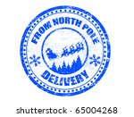 Blue grunge rubber stamp with flying Santa silhouette and the text from North Pole delivery written inside the stamp - more available - stock vector
