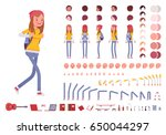 teenager girl with backpack.... | Shutterstock .eps vector #650044297