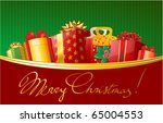 christmas gift in decorated... | Shutterstock .eps vector #65004553