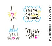 lettering set of quotes about... | Shutterstock .eps vector #650049169