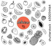 hand drawn sketch style set of... | Shutterstock .eps vector #650054464