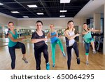 group training of girls in the... | Shutterstock . vector #650064295