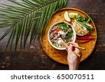 pho bo vietnamese soup with... | Shutterstock . vector #650070511