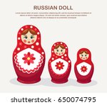 Set Of Red Russian Nesting Dol...