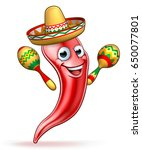 a red chilli pepper cartoon... | Shutterstock .eps vector #650077801