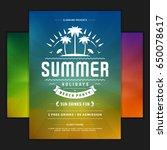 retro summer party design... | Shutterstock .eps vector #650078617