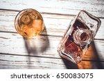 whiskey bottle and whiskey...   Shutterstock . vector #650083075