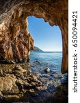 view from cave to the sea at... | Shutterstock . vector #650094421