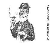 elegant gentleman in bowler hat ... | Shutterstock .eps vector #650096959