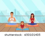 parents with kid does yoga... | Shutterstock .eps vector #650101405