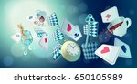 alice in wonderland. playing... | Shutterstock .eps vector #650105989