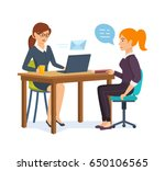 woman hr interviews an employer ... | Shutterstock .eps vector #650106565
