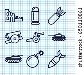 set of 9 conflict outline icons ... | Shutterstock .eps vector #650110861