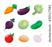 set of vegetables isolated on... | Shutterstock .eps vector #650117581