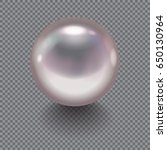 realistic pearl with drop... | Shutterstock .eps vector #650130964