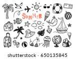 doodle summer vector set. hand... | Shutterstock .eps vector #650135845