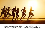 group of young people runs at... | Shutterstock . vector #650136379