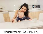 young mother and her son play...   Shutterstock . vector #650142427