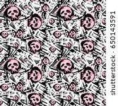 Seamless Skulls Textile Doodle...