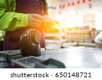cashier in the supermarket  the ... | Shutterstock . vector #650148721