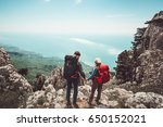 couple travelers man and woman... | Shutterstock . vector #650152021