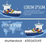 sea shipping flyer template set.... | Shutterstock .eps vector #650163145