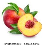 Peach Fruits With Green Leaf...